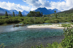 Clear River with Mountains Royalty Free Stock Photos