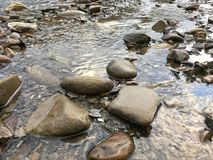 Clear river with rocks royalty free stock photo