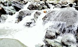 Mountain river stream of water in the rocks. Clear river with rocks. Nature and water stock image