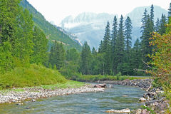 Clear river runs toward snow-capped mountains. Royalty Free Stock Images