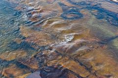 Clear water allowing you to see the rocks beneath. Clear river water as it flows over rocks allowing you to see beneath to the rocks royalty free stock photo