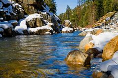 Clear river in the woods. In Winter Royalty Free Stock Photography