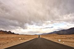 A lonely road in Magnificent landscape of Ladakh, India royalty free stock photo