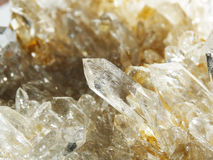 Clear rock crystal quartz geode geological crystals Stock Photography