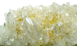 Clear rock crystal quartz geode geological crystals Stock Images