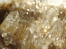 Clear rock crystal quartz geode geological crystals Stock Photo