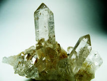 Clear rock crystal quartz geode geological crystals Royalty Free Stock Image