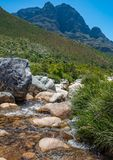 Clear rocky mountain stream. Crystal clear rocky mountain stream on a sunny day Royalty Free Stock Images