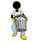 Clear the rubbish. Silhouette-man at work - clear the rubbish Stock Photo