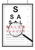Clear sales target in eyesight test concept Royalty Free Stock Images