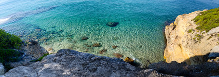 Clear sand and stone bottom of Mediterranean sea near Tarragona, Spain Royalty Free Stock Images