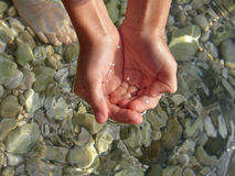 Clear sea. Child take with hands crystal clear Adriatic sea. (Croatia - Dalmatia). Horizontal photo Stock Photos