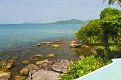 Clear sea and blue sky of Kood island. Clear sea on the coast of Kood island in Thailand Royalty Free Stock Image