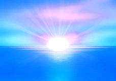 Clear sea horizon over blue sky with sun shine Royalty Free Stock Photography