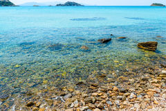 Clear sea water and rock Stock Photo