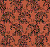 Clear seamless texture with stylized patterned elephants in Indi Stock Photo