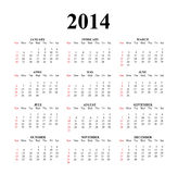 2014 Clear Simple Calendar. 2014 calendar designed on a white background Royalty Free Illustration