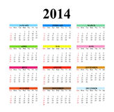 2014 Clear Simple Calendar. 2014 calendar designed on a white background Royalty Free Stock Photos