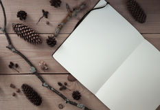 Clear sketchbook on wooden background Stock Image