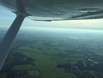 Clear Skies. Out of an aeroplane window Royalty Free Stock Image