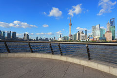 Clear Skies at shanghai of modern city architecture skyline Royalty Free Stock Images