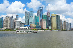 Clear Skies at shanghai of modern city architecture skyline royalty free stock photography