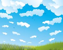 Clear sky. And green field royalty free illustration
