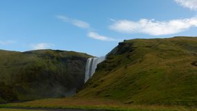 Clear sky above the waterfall Stognafoss in the morning Royalty Free Stock Image