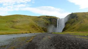 Clear sky above the waterfall Stognafoss in the morning Royalty Free Stock Photo