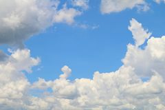 Clear sky blue and cloud white beautiful for nature background, Sky blue space middle on cloud white. Sky Clear blue and cloud white beautiful for nature Royalty Free Stock Photos