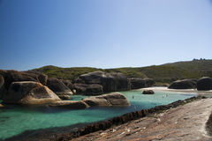 Clear Sky, blue water and rocks in Albany Western Australia. Beautiful clear sky. Add your text to the top side for copyspace. Elephant Rock, Albany Western Stock Images