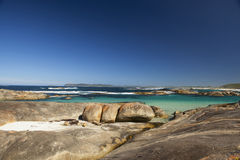 Clear Sky, blue water and rocks in Albany Western Australia Royalty Free Stock Photos