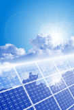 Clear sky, bright sun and solar panel. With reflection of clouds Stock Photo