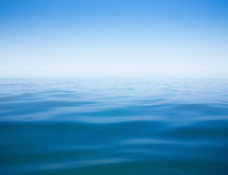 Clear sky and calm sea or ocean water surface. Background Stock Photography