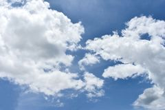 Clear sky and cloud. Blue background white cloud windy sun summer royalty free stock images