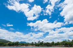 Clear sky with clouds over the lake Royalty Free Stock Photo