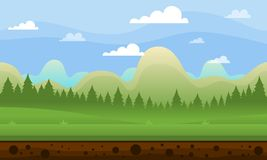 Clear Sky Mountain Game Background. Clear Sky Mountain  illustration for fantasy 2d video game background Stock Photography
