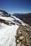 Clear Sky Mountain Path. Snowy mountain path in El Chalten, Argentina stock images