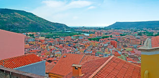 Clear sky over Bosa Royalty Free Stock Image