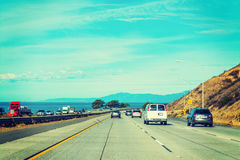 Clear sky over Pacific Coast Highway Royalty Free Stock Photos