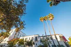 Clear sky over State street in Santa Barbara. California Royalty Free Stock Images