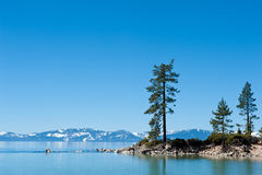 Clear sky at Sand Harbor Stock Photo