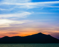 Clear sky sunset over the sea Royalty Free Stock Image