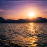 Clear sky sunset over the sea Royalty Free Stock Photos