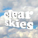 Clear Skys Word Open Blue Sky Clouds Royalty Free Stock Photos