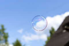 Clear soap bubble in blue cloudy sky Stock Photo