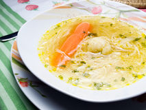 Clear soup. Closeup view of a clear soup with vegetables on the table Royalty Free Stock Image