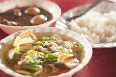 Clear Soup  rice and stewed eggs Stock Photo