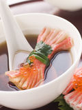 Clear Soup with Snow Crab Sticks Stock Photo