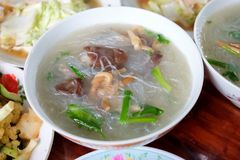 Clear Soup with vegetable and cellophane noodle or glass noodles soup for Chinese new year. stock photography